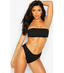 mix & match crinkle high leg bikini brief, black