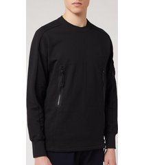 c.p. company men's zip detail crewneck sweatshirt - black - s