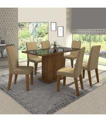 mesa de jantar 6 lugares rumba com vidro preto 11568 seda/neve - mobilarte móveis