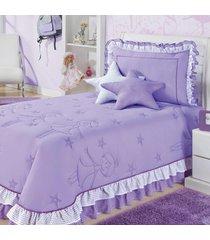 cobre leito / colcha bailarina cama solteiro para menina na cor lilas - cobreleito bailarina - aquarela,