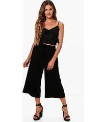 basic tie waist woven crepe culottes, black