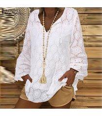 zanzea mujer de encaje de ganchillo cuello en v tapas flojas playa de las señoras del vendaje camisas de la blusa -blanco