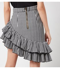 balmain women's short asymmetric ruffled gingham skirt - noir/blanc - fr 36/uk 8