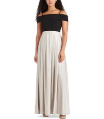morgan & company juniors' off-the-shoulder fit & flare gown