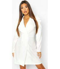 puff shoulder double breasted blazer dress, ivory