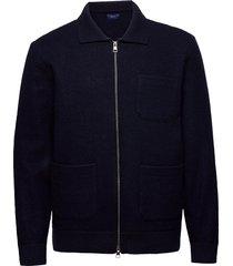 d2. boiled knitted jacket tunn jacka blå gant