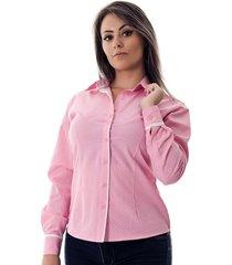 camisa pimenta rosada poá danny rosa/branco