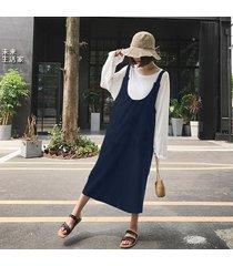 zanzea mujeres correas sin mangas vestido de traje de trabajo informal una línea vestido de tirantes top azul marino -azul