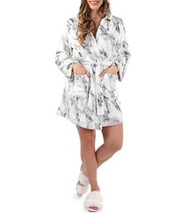 short marble plush robe