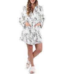 short marble plush robe