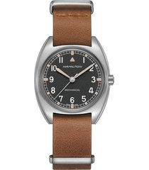 hamilton khaki aviator pilot pioneer leather strap watch, 36mm x 33mm in brown/black/silver at nordstrom