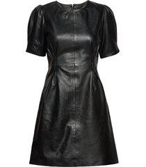 slfkrissy leather dress b korte jurk zwart selected femme