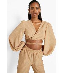 blouse met textuur, ceintuur en volle mouwen, camel