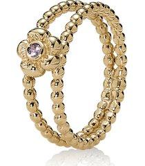 anel flor de safira