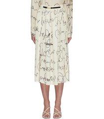 scribble print front drape belted skirt