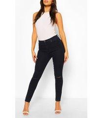 strech skinny jeans met hoge taille en gescheurde knie, indigo