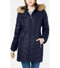 tommy hilfiger petite faux-fur trim hooded water-resistant puffer coat, created for macy's