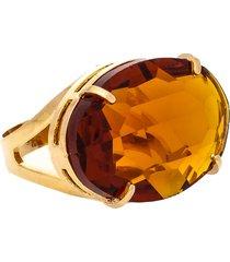 anel kumbayá oval cristallo semijoia banho de ouro 18k cristal topázio imperial