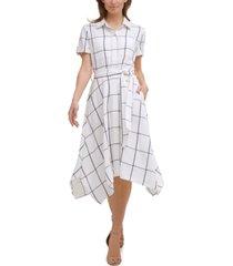 karl lagerfeld paris grid-print midi dress