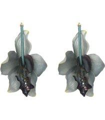 aretes flores lirios turquesa- atalí