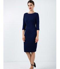 sukienka żakardowa dopasowana niebieska