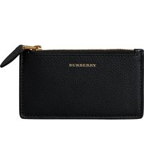 burberry two-tone leather zip card case - black