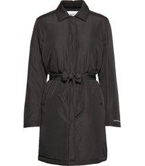 light padded carcoat trenchcoat lange jas zwart calvin klein jeans