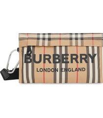 burberry logo print icon stripe nylon zip pouch - neutrals