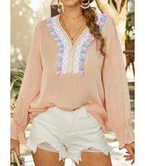 camicetta casual da donna a maniche lunghe con scollo a v con nappe bohemien