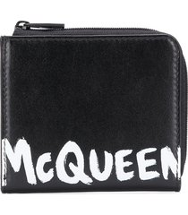 alexander mcqueen logo print zipped wallet - black