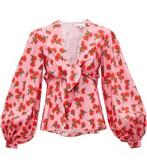 chloe rose-print tie-front cotton blouse