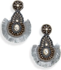 women's panacea grey beaded fringe drop earrings