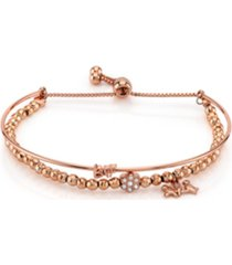 "unwritten rose gold tone fine plated silver ""bff"" bird and crystal flower charm bead bolo bracelet"