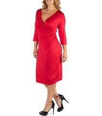 24seven comfort apparel three quarter sleeve knee length plus size wrap dress