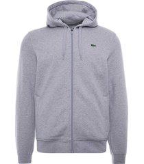 lacoste sport lightweight bi-material hoodie | gris chine | sh1551-9ya
