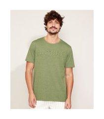 "camiseta masculina nature"" manga curta gola careca verde"""