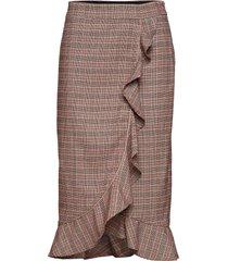 skirt in checks w. ruffle and pibin knälång kjol rosa coster copenhagen