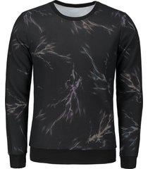 lightning printed mesh overlay sweatshirt