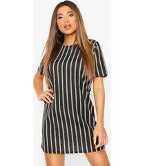 gestreepte pastel jurk met korte mouwen, zwart