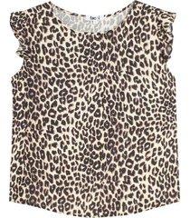 blusa manga corta con estampado animal print color beige, talla l