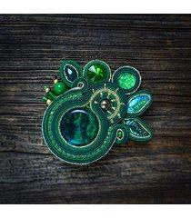 isobelle -zielona broszka soutache