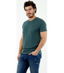 camiseta de hombre, cuello redondo, manga corta, 100% algodón, color verde