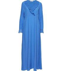 dress in viscose with v-neck and ru maxiklänning festklänning blå coster copenhagen