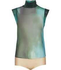 tulle body t-shirts & tops bodies blå wolford