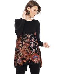sweater desigual largo negro - calce regular