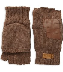 ugg men's leather patch & faux fur-lined gloves - brown - size l/xl