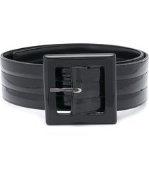 yves saint laurent pre-owned quilted buckled belt - black