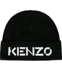 kenzo logo embroidered knit beanie