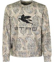 etro sweatshirt with paisley motif and pegasus logo
