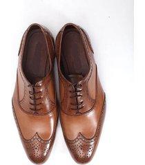 handmade men fashion brown wing tip brogue leather shoes men formal dress shoes